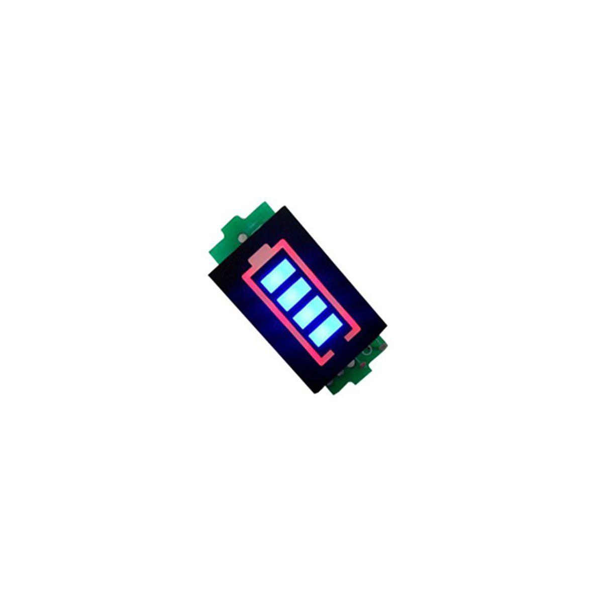 2x Voltímetro com Display Indicador de Nível de Carga para Baterias 1S 4,2V