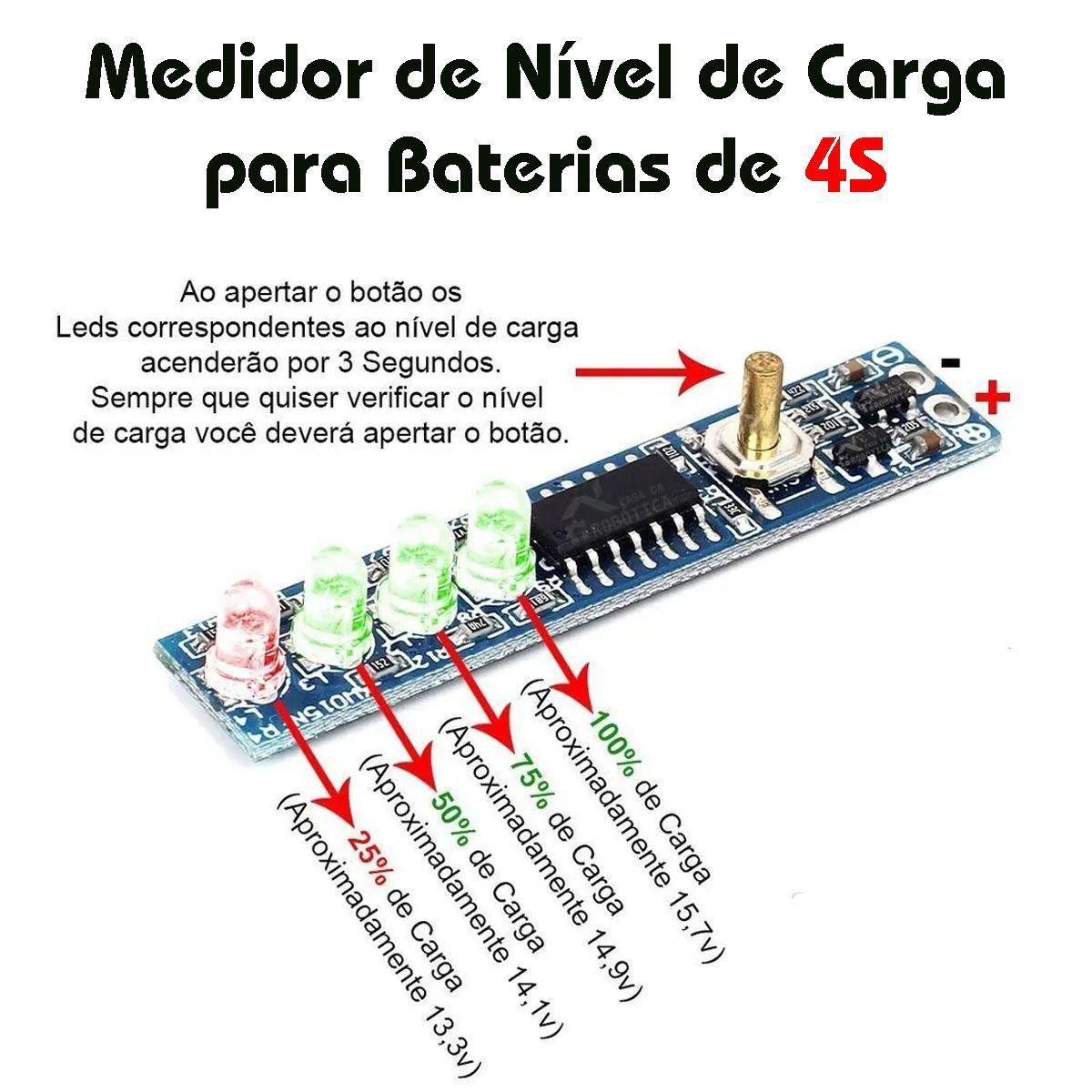 2x Voltímetro Indicador de Nível de Carga para Baterias 4S 16,8V