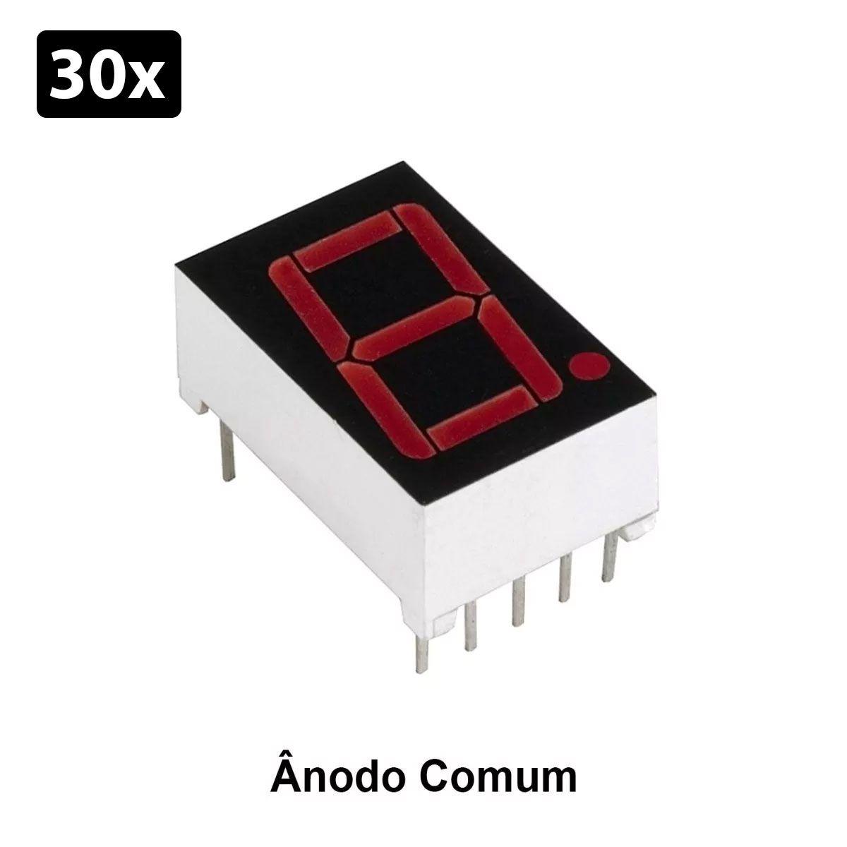 30x Display 7 Segmento 1 Dígito Vermelho Ânodo Comum