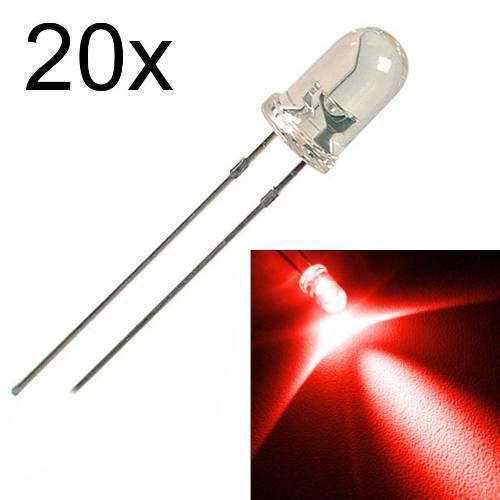 20x Led Vermelho de 5mm Alto Brilho