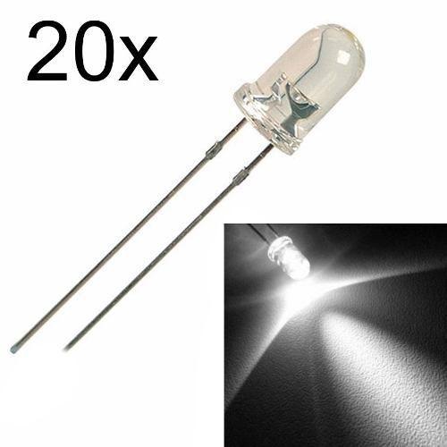20x Led Branco de 5mm Alto Brilho