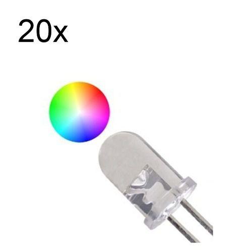 20x Led Flash 5mm RGB Difuso Efeito Rápido 2 Pinos Cor Automática