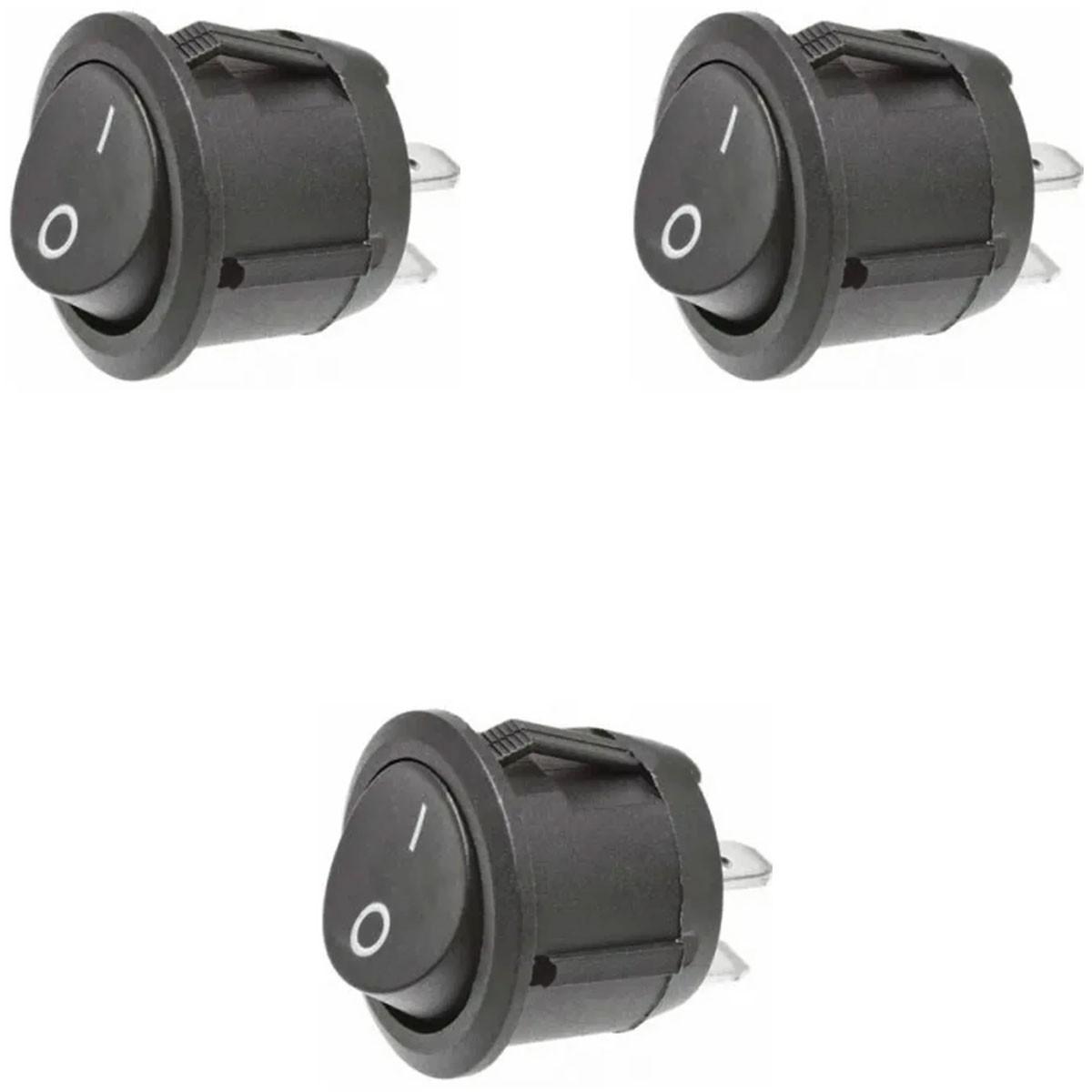 3x Chave / Botão Tic Tac Redonda Preta On / Off - 2 Posições 2 Terminais
