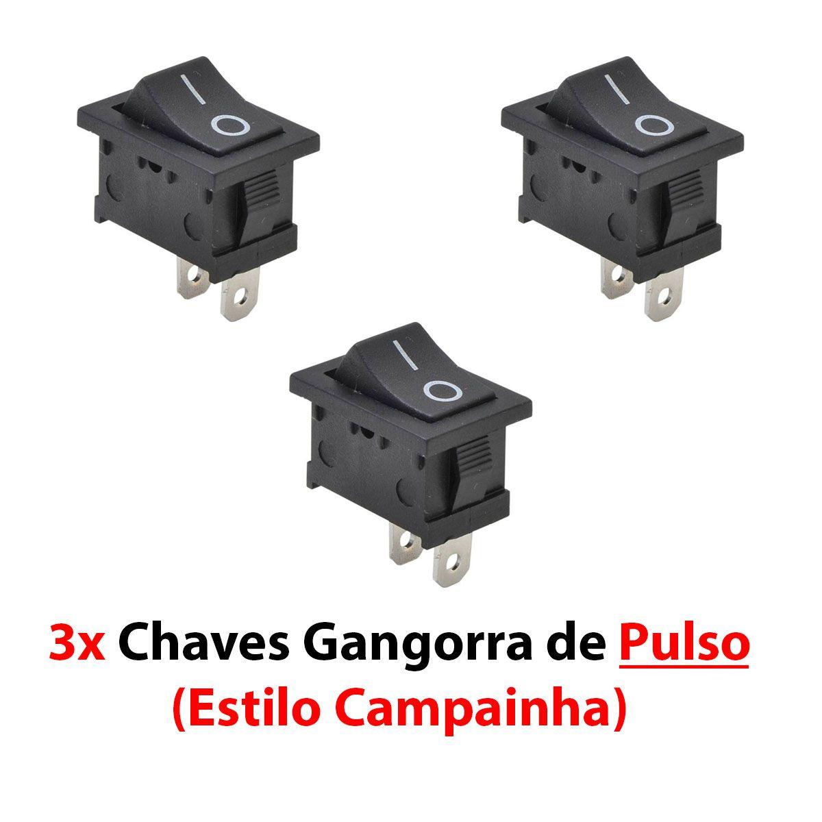 3x Chave Gangorra de PULSO ( Campainha )- 2 Terminais 15x20mm 6A - Cor Preta KCD1-111-2