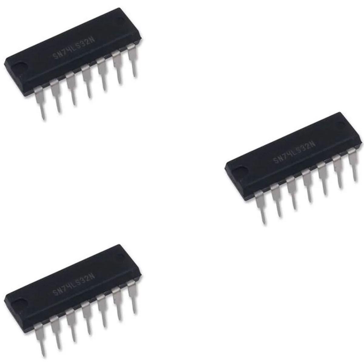 3x Ci 74LS32 Porta Lógica OR Família HC, 2 Entradas 5,2mA, 2V