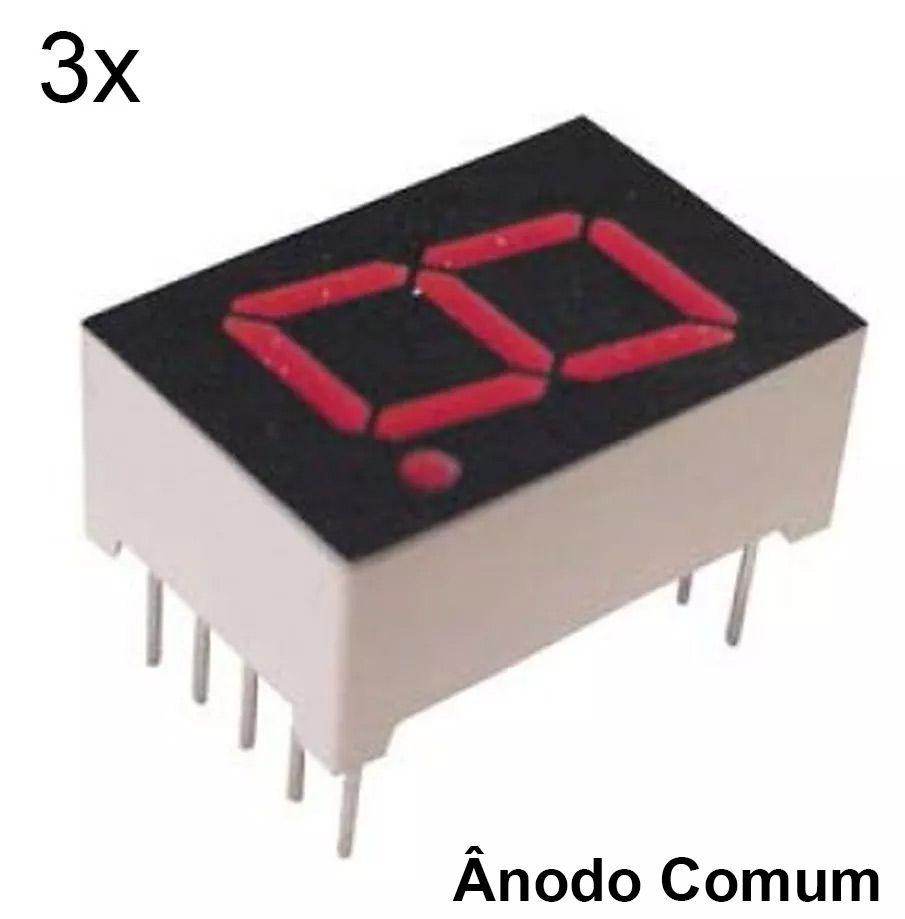 3x Display 7 Segmento 1 Dígito Vermelho Ânodo Comum