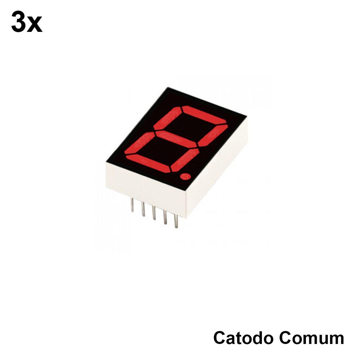 3x Display 7 Segmento 1 Dígito Vermelho Catodo Comum - 5161AS