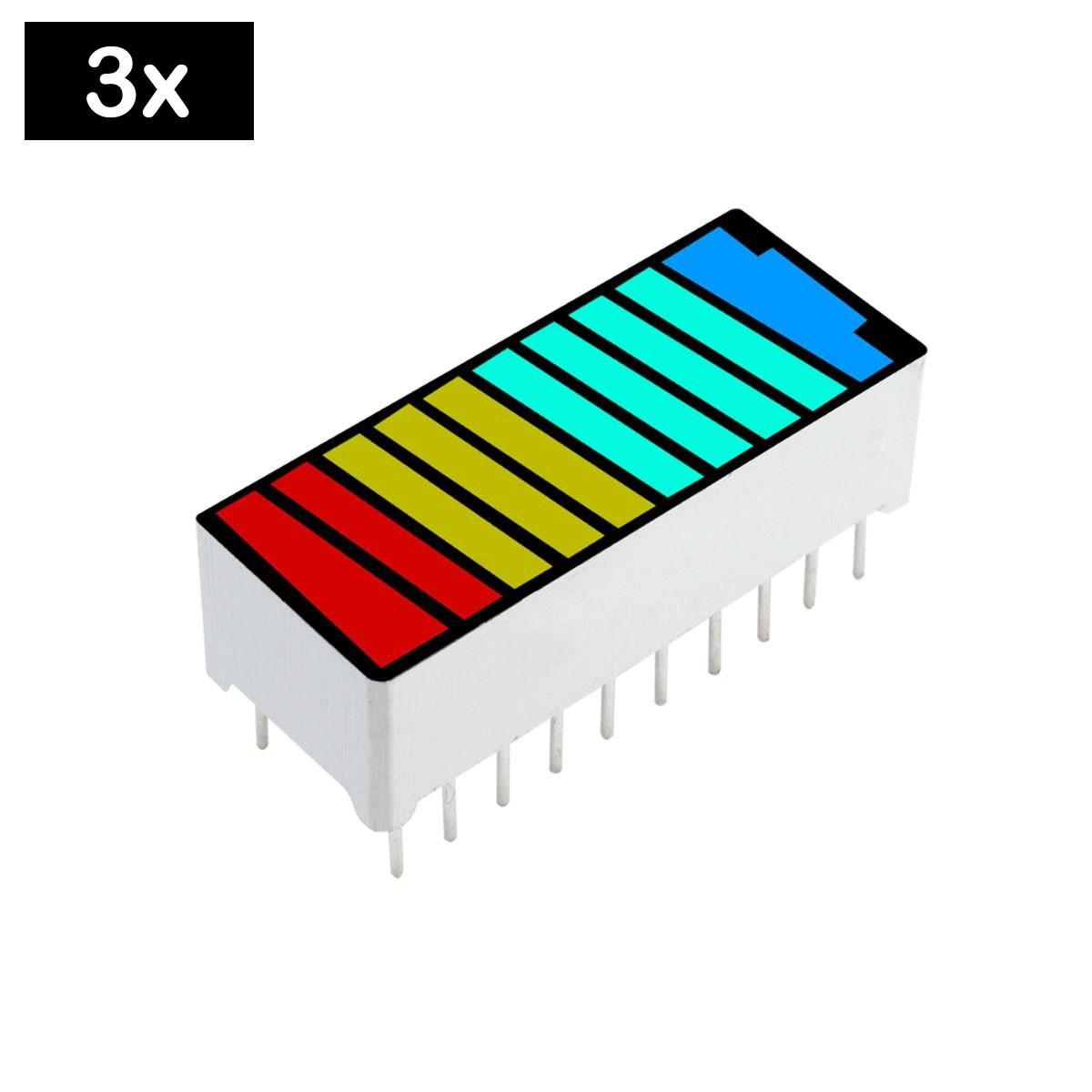 3x Display Bar Graph / Barra de Progresso com 4 cores 10 segmentos - Desenho Bateria