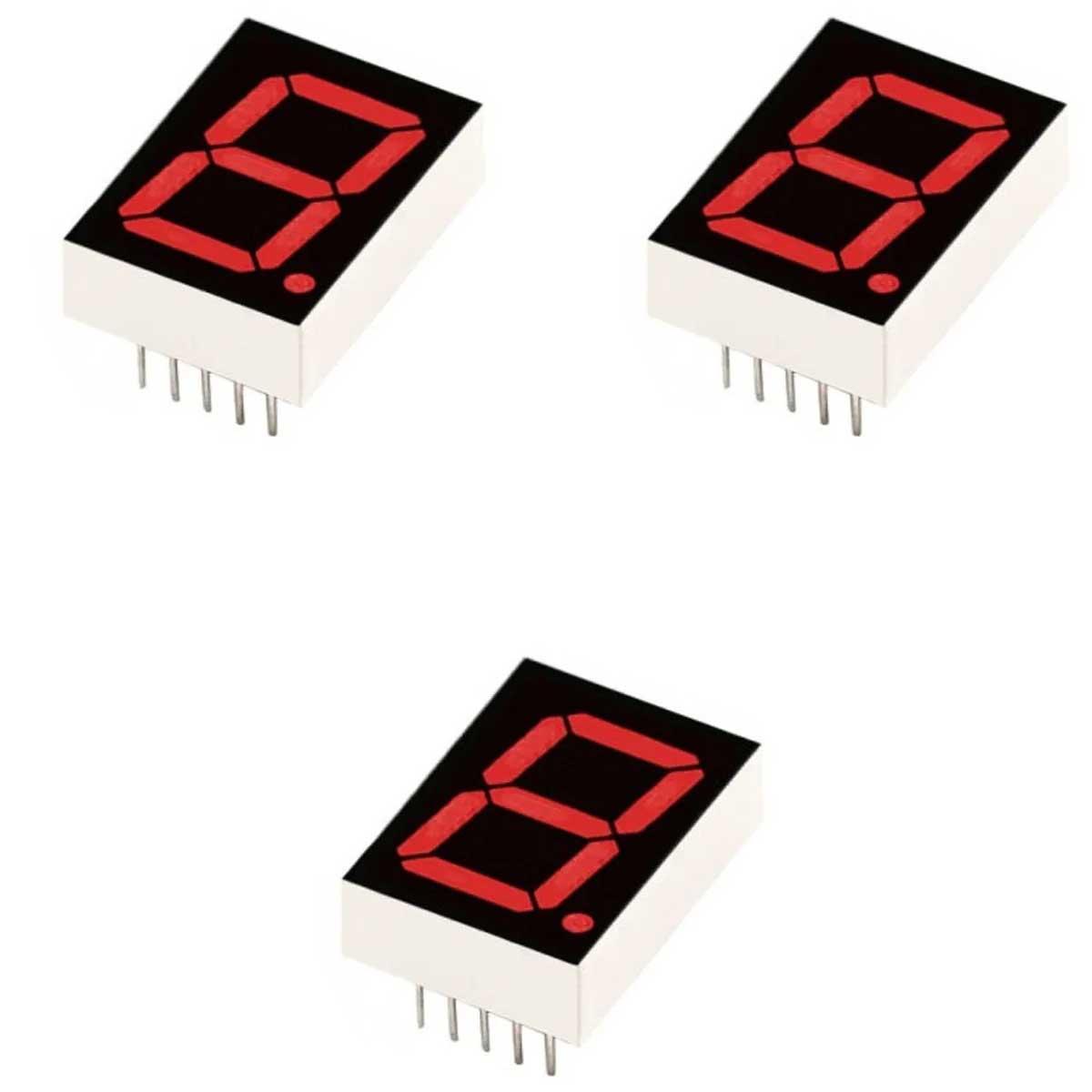 3x Display BCD 7 Segmento 1 Dígito Vermelho Catodo Comum