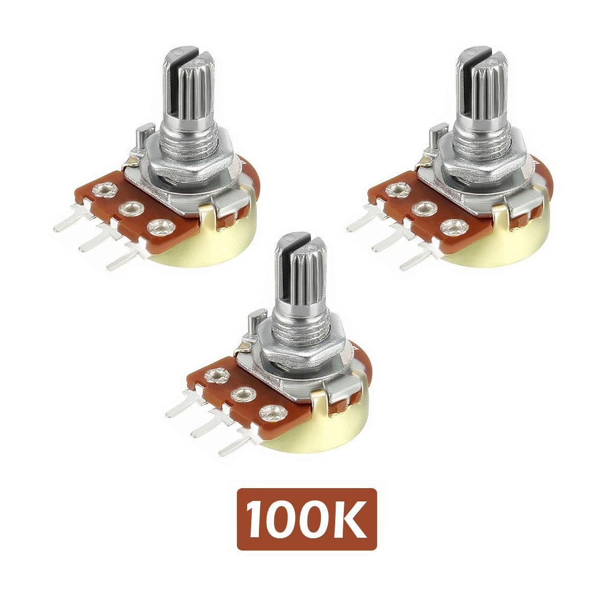 3x Potenciômetro 100k Linear Estriado 16.9mm Wh148 B100k