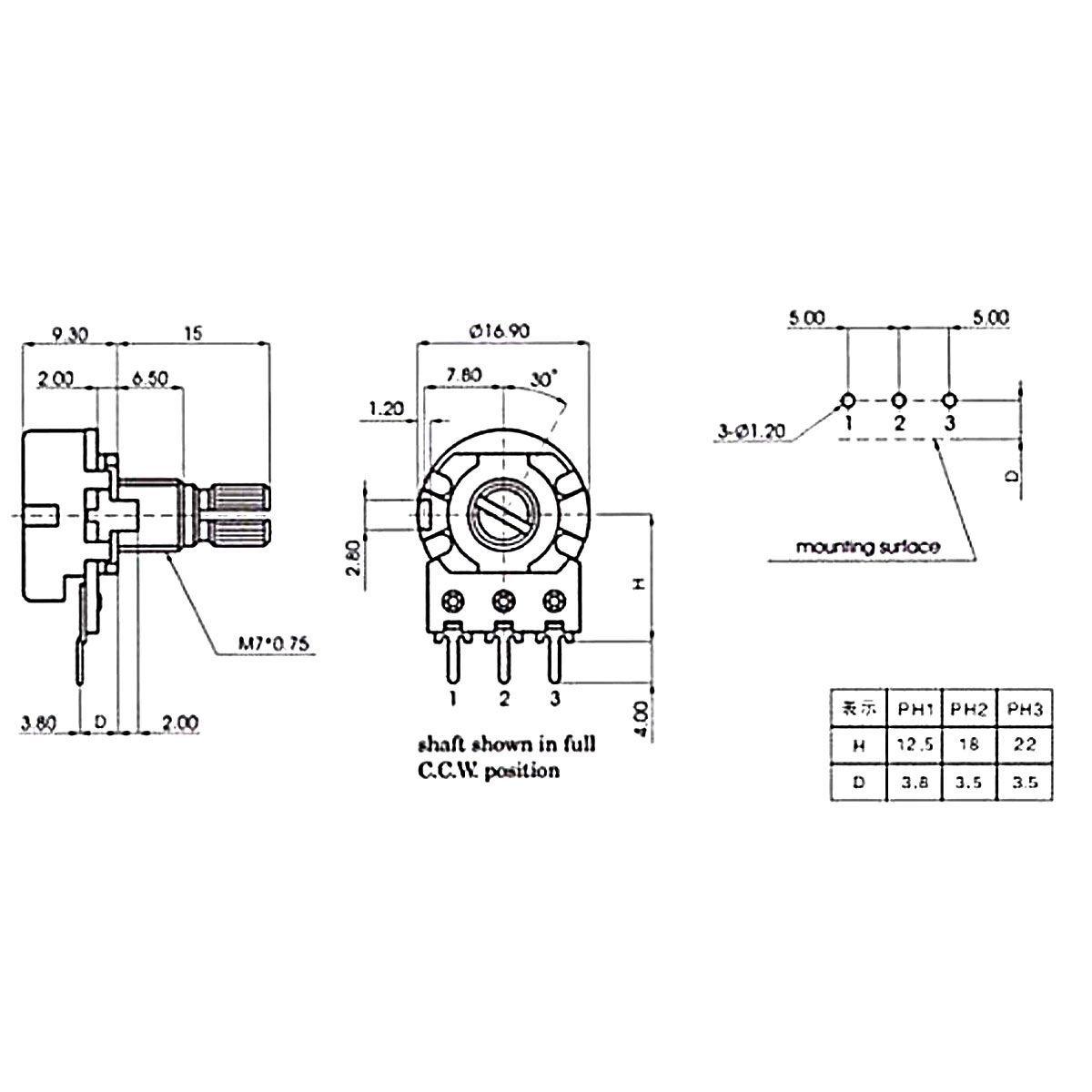 3x Potenciômetro 50k Linear Estriado 16.9mm Wh148 B50k