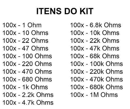 Kit Diversos Resistor 2100 Pcs 21 Tipos 5% 100 de Cada