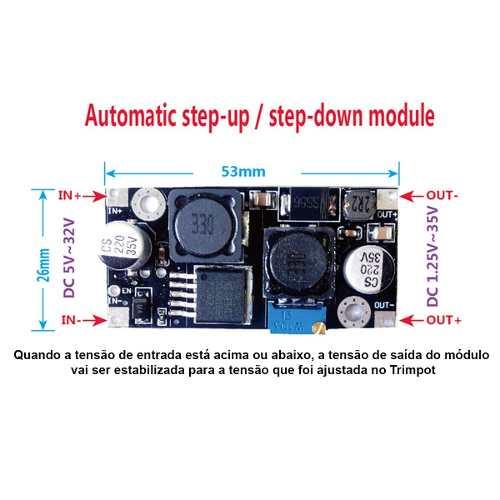 4x Conversor Regulador DC DC Buck Boost Step Up e Down Xl6019