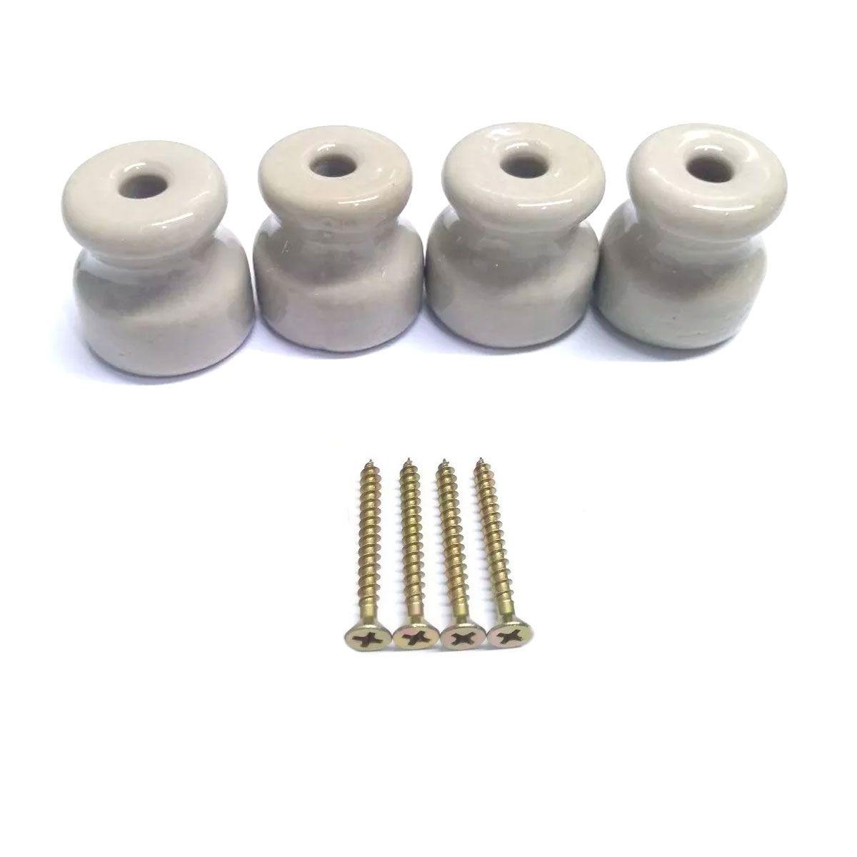 4x Isolador de Porcelana com Parafusos para Chocadeira / Estufa / Criadeira