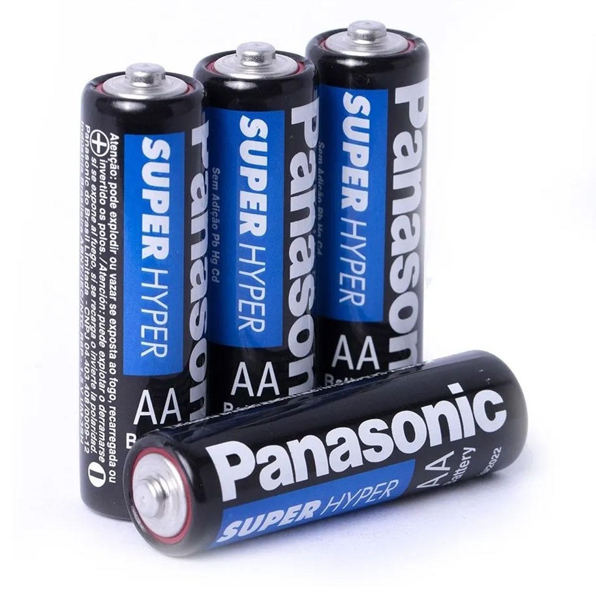 4x Pilha Panasonic AA - Super Hyper Comum
