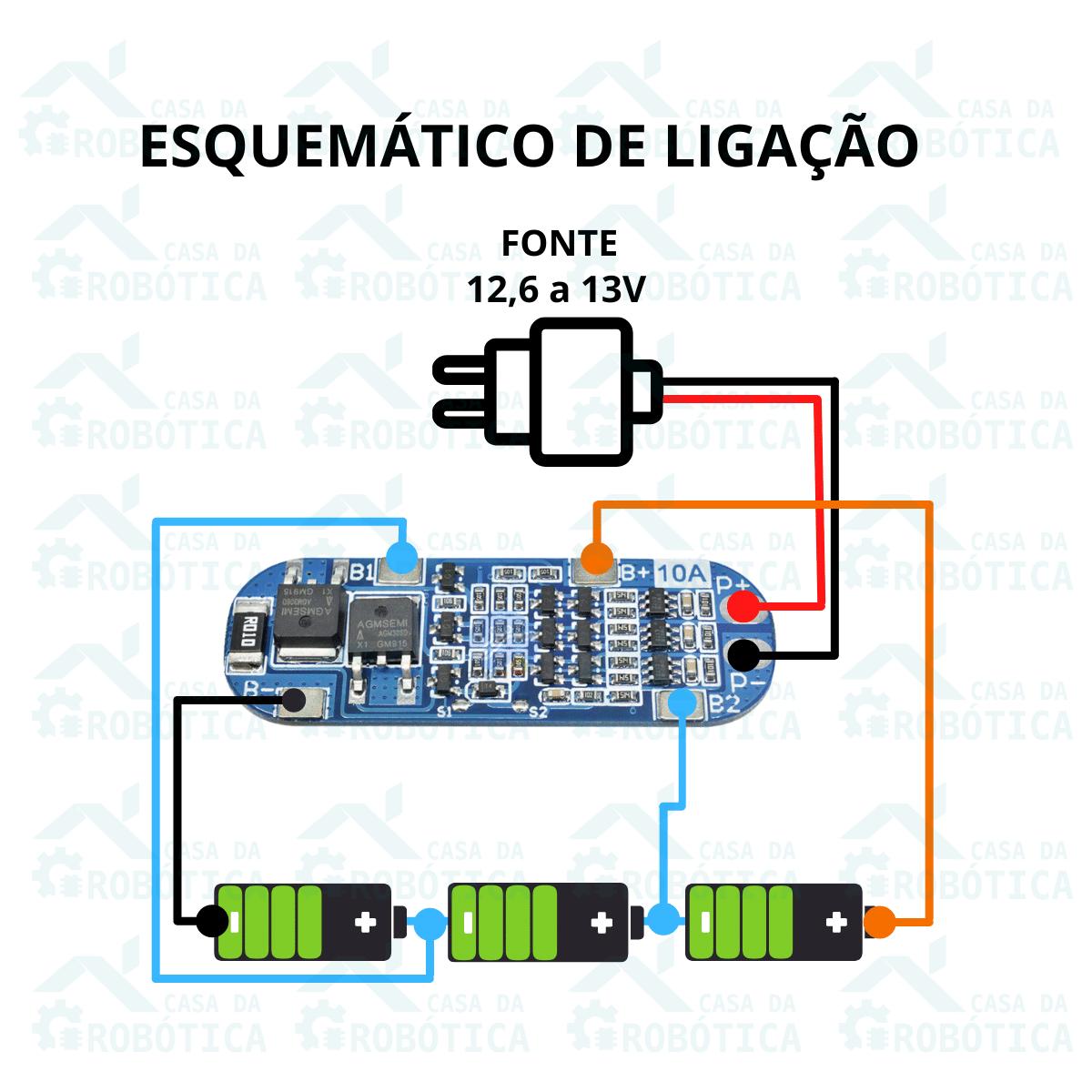 4x Placa de Proteção BMS 3S 10A Carregador de Bateria de Lítio