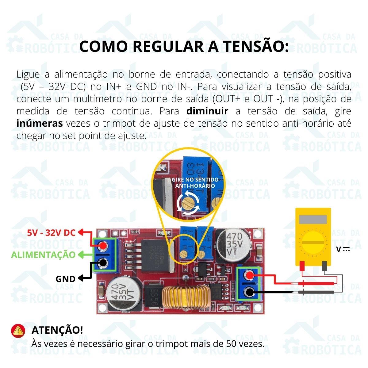 4x Regulador com Ajuste de Corrente e Tensão Xl4015 5A DC DC