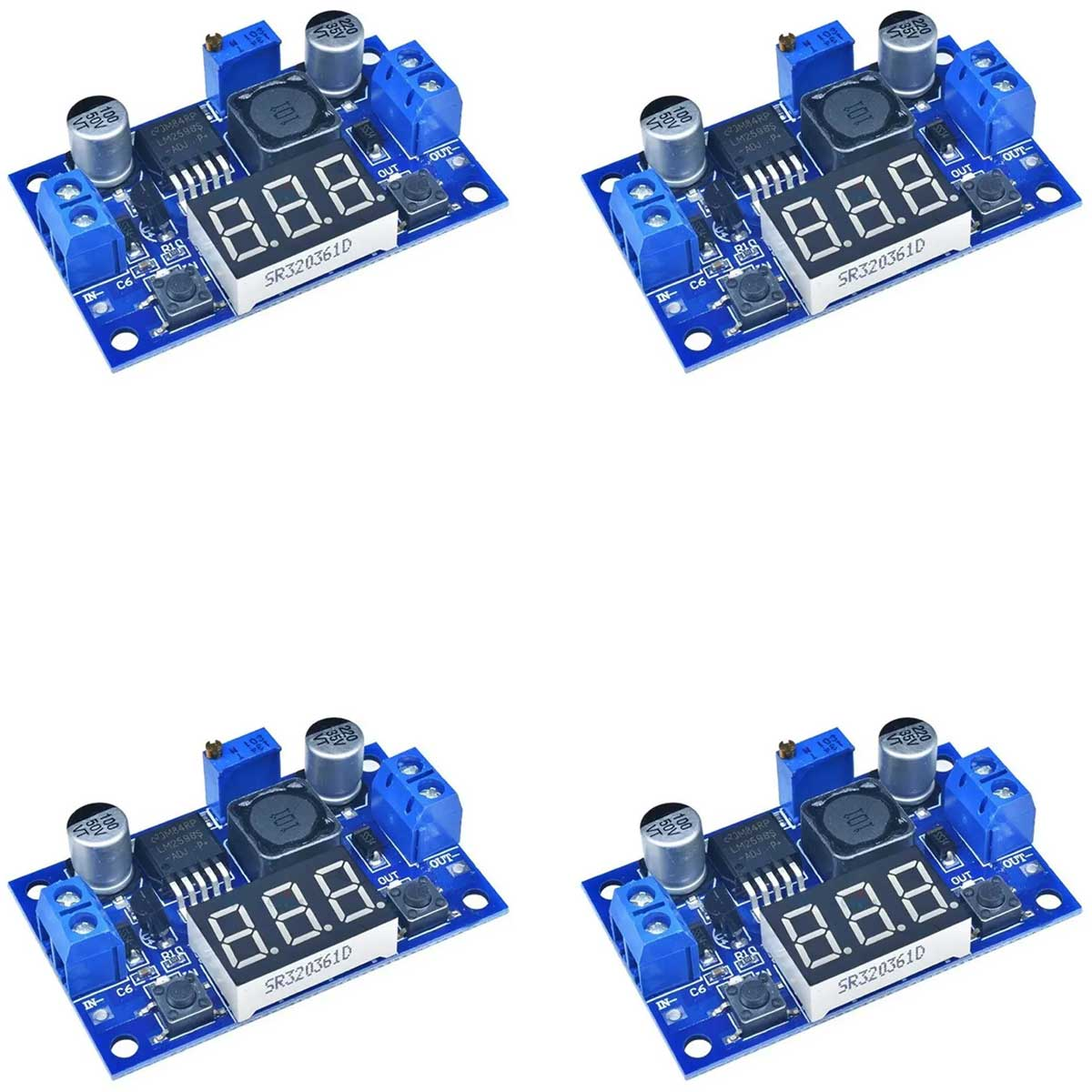 4x Regulador de Tensão Step Down Ajustável LM2596 DC-DC com Display