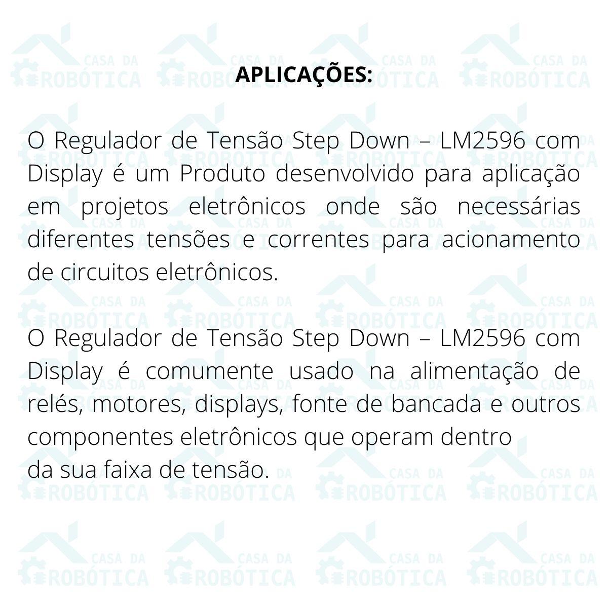 4x Regulador de Tensão Step Down Ajustável LM2596 DC-DC com Display