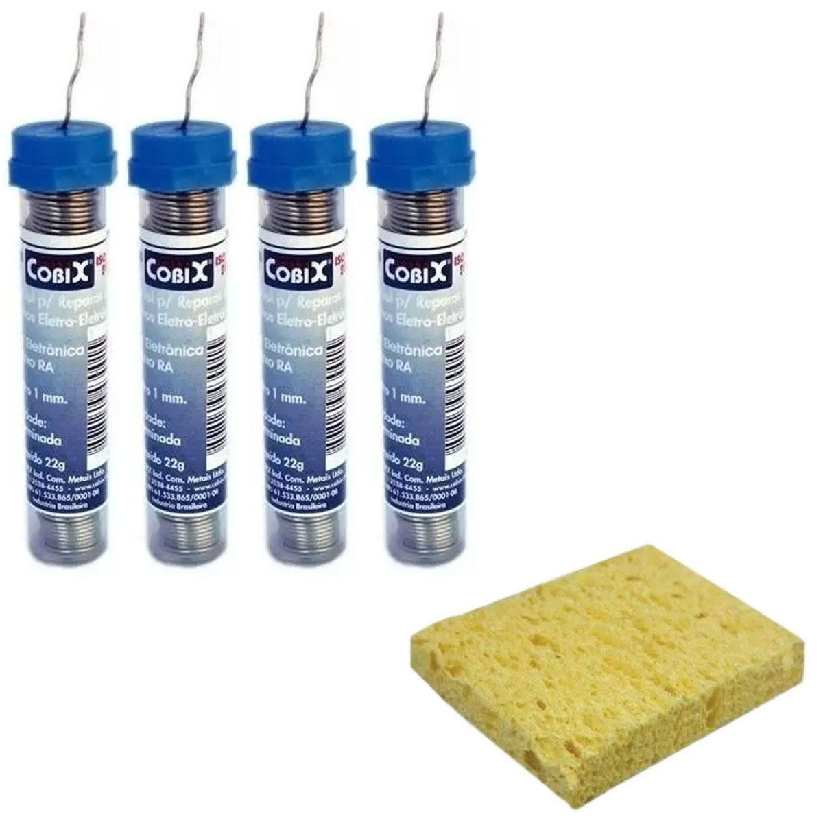 4 Tubos de Solda Estanho 1mm 22g Cobix + 1 Esponja para Ferro de Solda