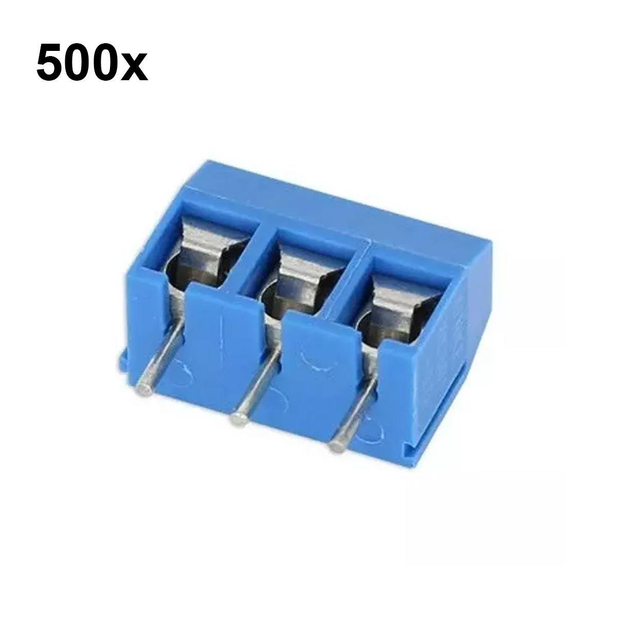500x Conector Borne KRE KF301 3p 3 Vias com Parafuso