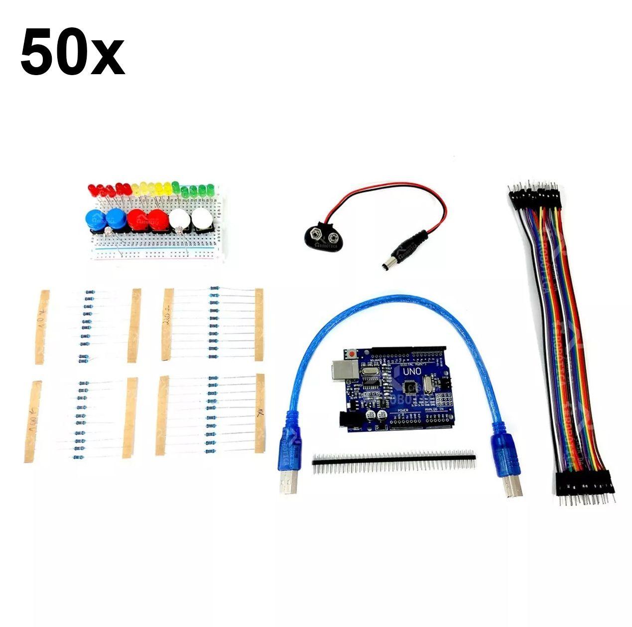 50x Kit Uno SMD R3 para Iniciantes em Arduino