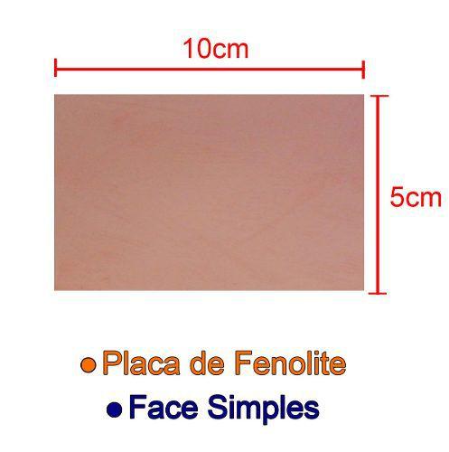 Placa de Fenolite Cobreada Simples 5x10cm para Circuito Impresso - PCI