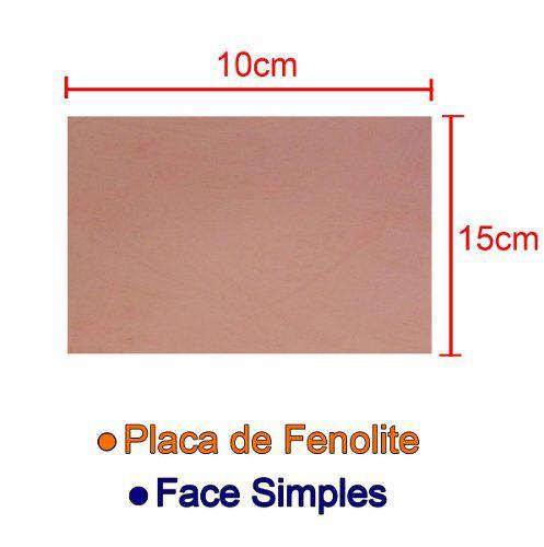 Placa De Fenolite Cobreada Simples 10x15cm para Circuito Impresso - PCI