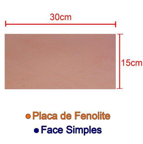 Placa de Fenolite Cobreada Simples 15x30cm para Circuito Impresso - PCI