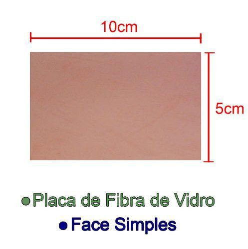Placa de Fibra de Vidro Simples 5x10cm para Circuito Impresso - PCI