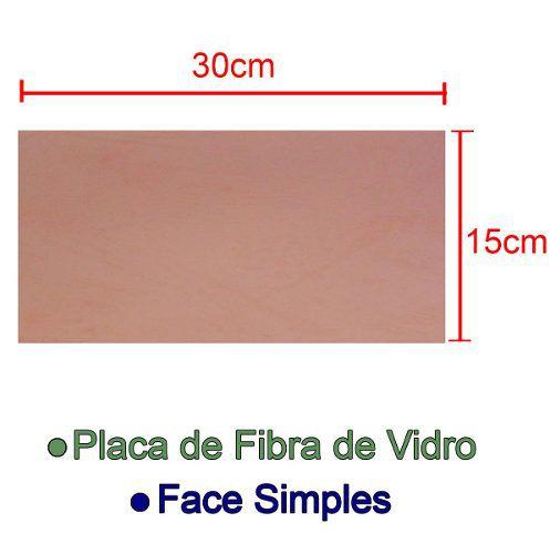 Placa de Fibra de Vidro Simples 15x30cm para Circuito Impresso - PCI