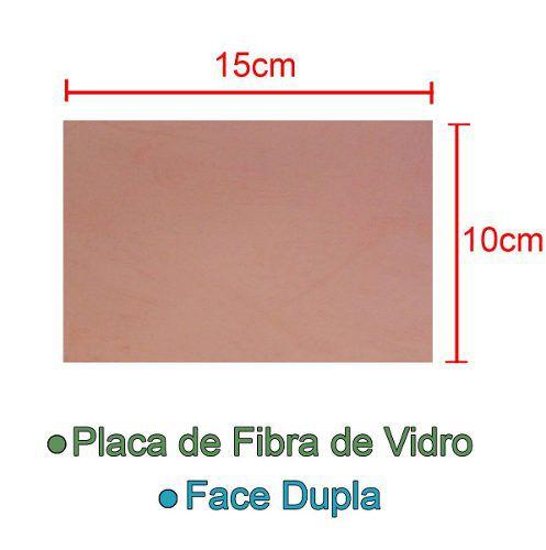 Placa de Fibra de Vidro Dupla Face 10x15cm para Circuito Impresso - PCI