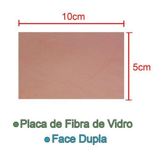 Placa de Fibra de Vidro Dupla Face 5x10cm para Circuito Impresso - PCI