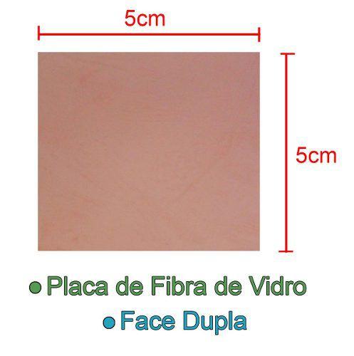 Placa de Fibra de Vidro Dupla Face 5x5cm para Circuito Impresso - PCI