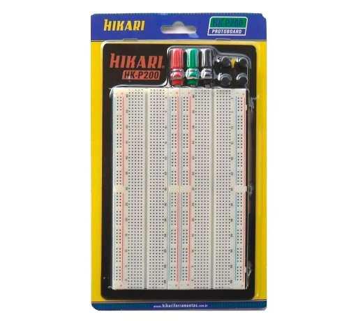 Protoboard Hikari HK-P200 1660 Pontos / Furos com 3 Bornes