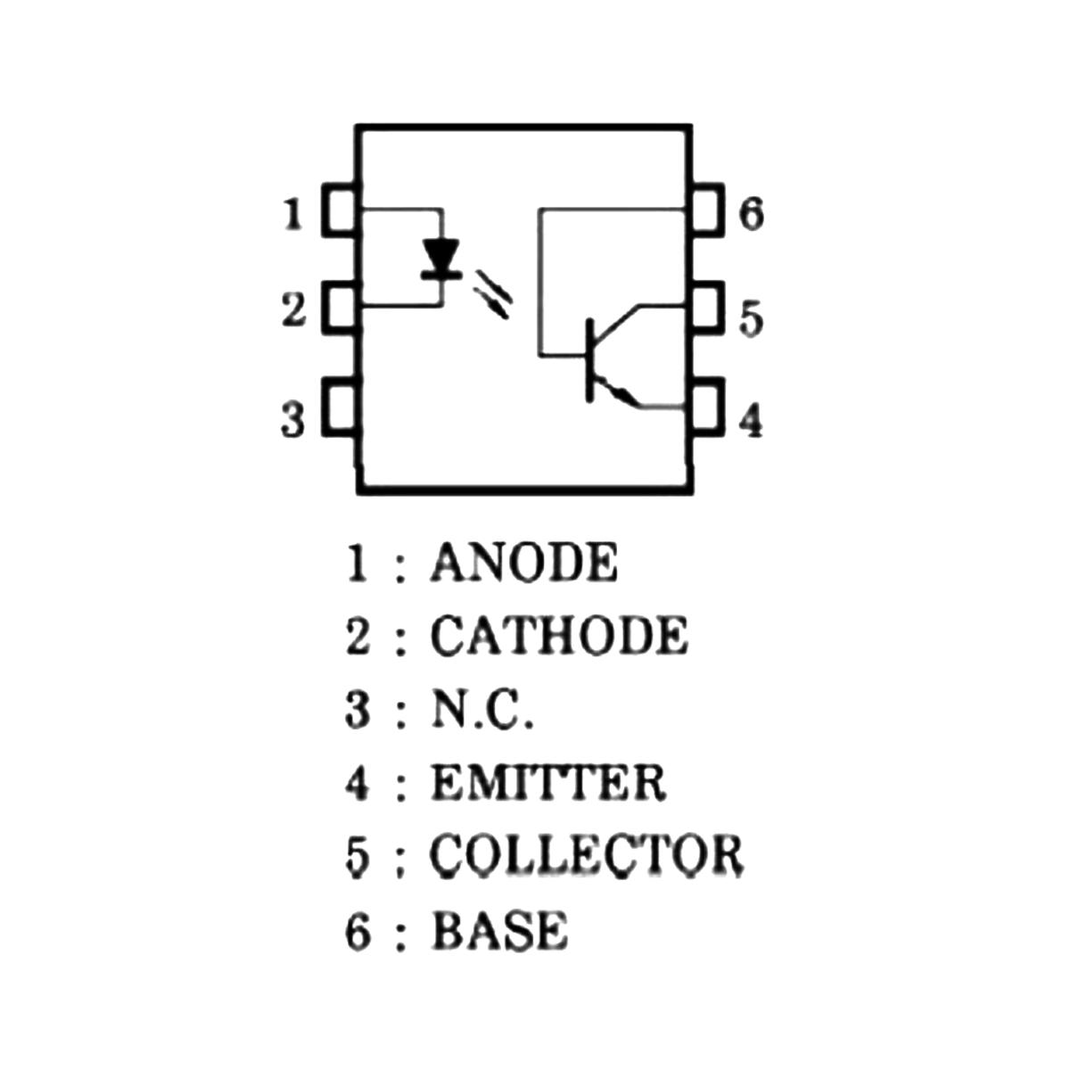 5x Circuito Integrado - CI Optoacoplador / Foto Acoplador 4N25 Dip - Preto