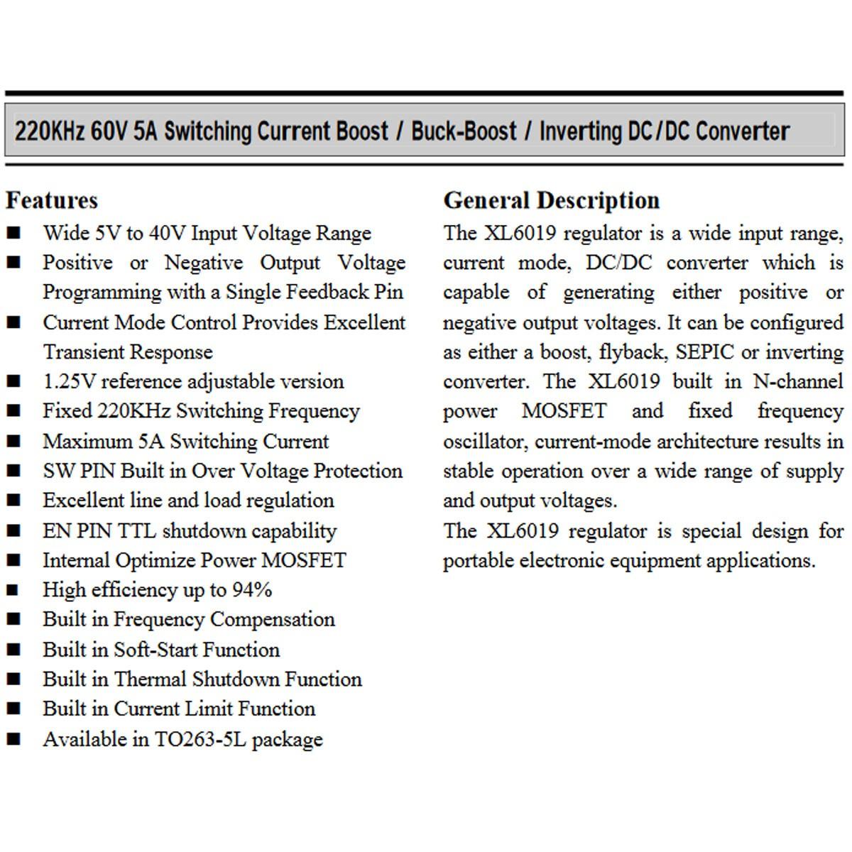 5x Conversor DC-DC Buck Boost Step Up e Down Xl6019