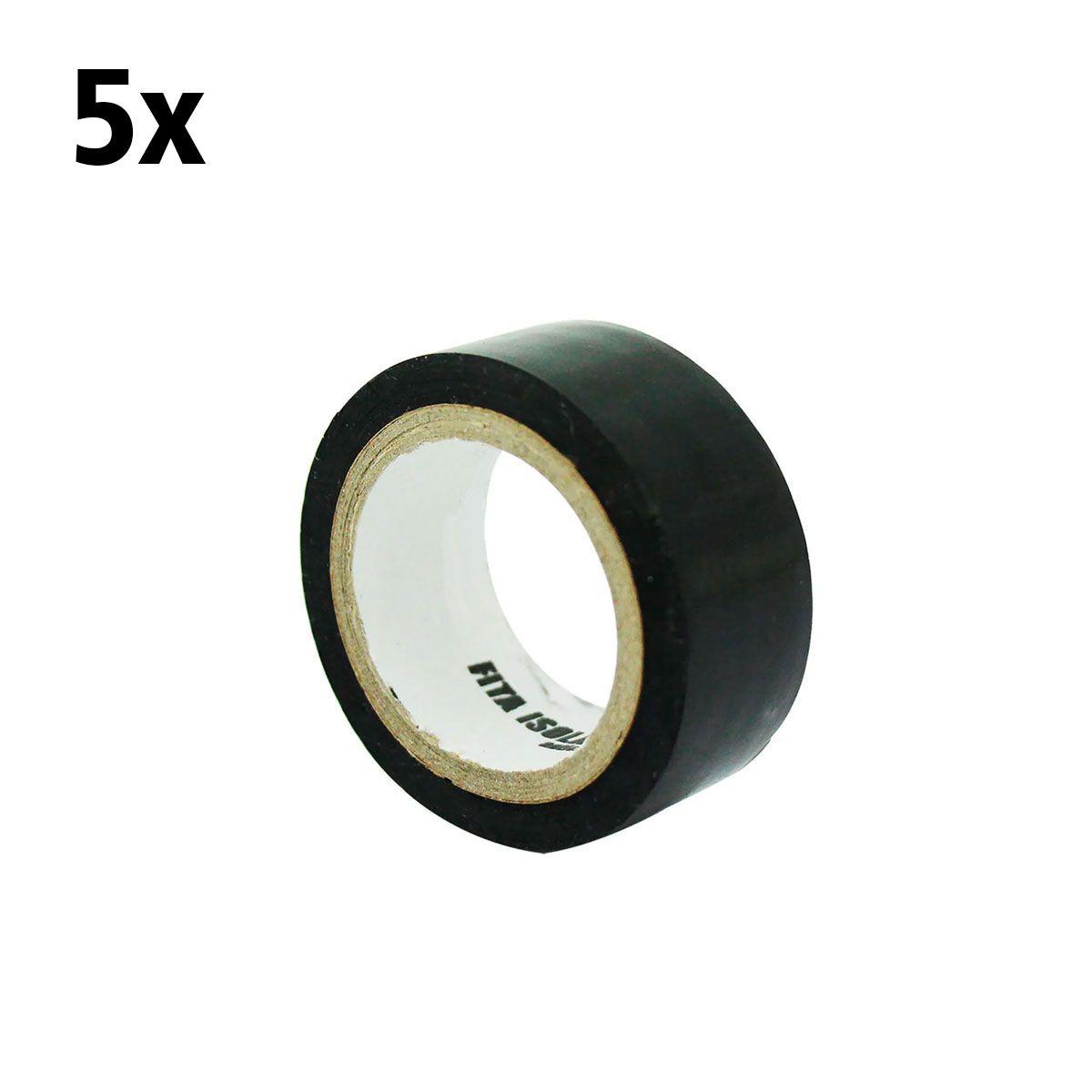 5x Fita Isolante 5 metros x 19mm - Ideal para Seguidor de Linha