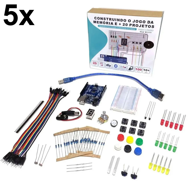 5x Kit Iniciante para Arduino com Tutorial - Construindo o Jogo da Memória e + 20 Projetos!