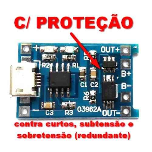 5x Módulo Carregador de Baterias de Lítio TP4056 com Proteção