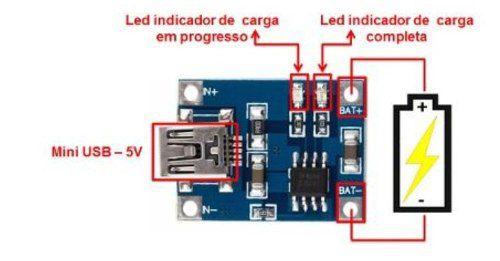 5x Módulo Carregador de Baterias de Lítio TP4056 TC4056