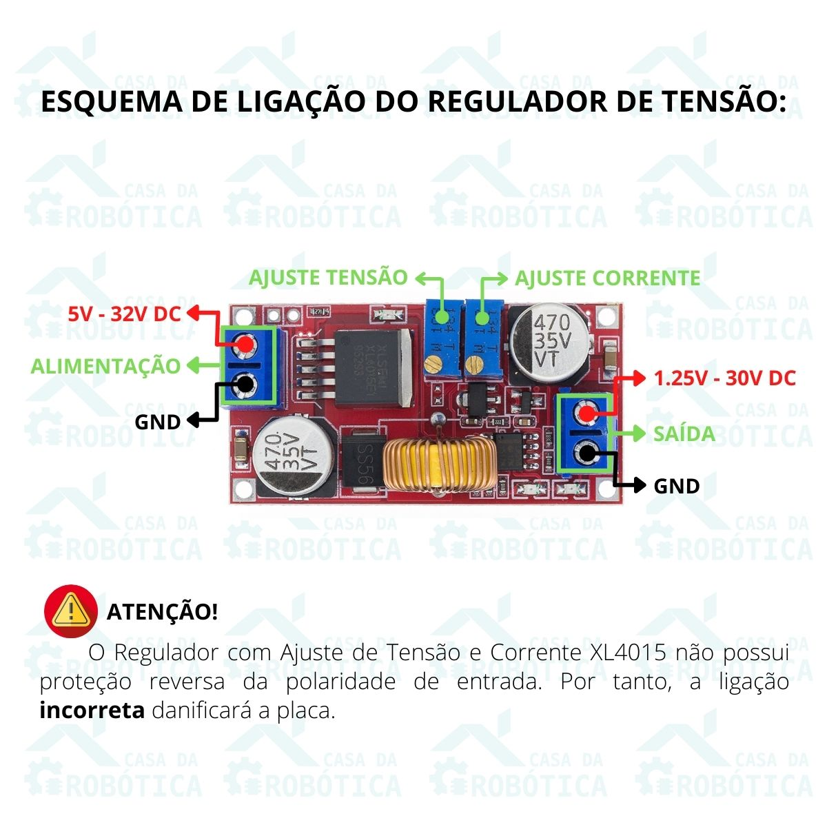 5x Regulador com Ajuste de Corrente e Tensão XL4015 5A DC DC Step Down