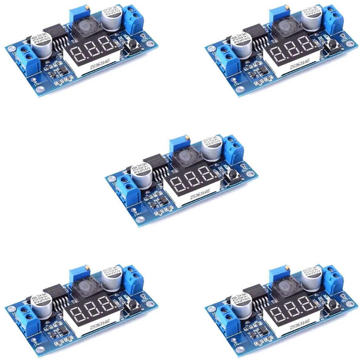 5x Regulador de Tensão Step Down Ajustável LM2596 DC-DC com Display