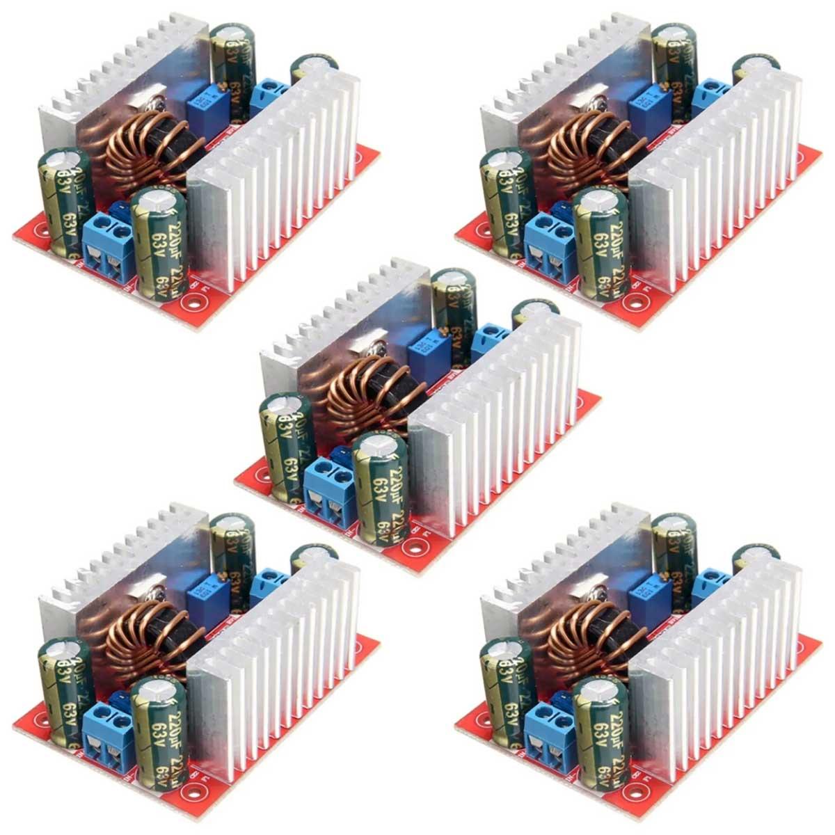 5x Regulador Tensão / Corrente Step Up Boost 8.5-50v P/ 10-60v 15A