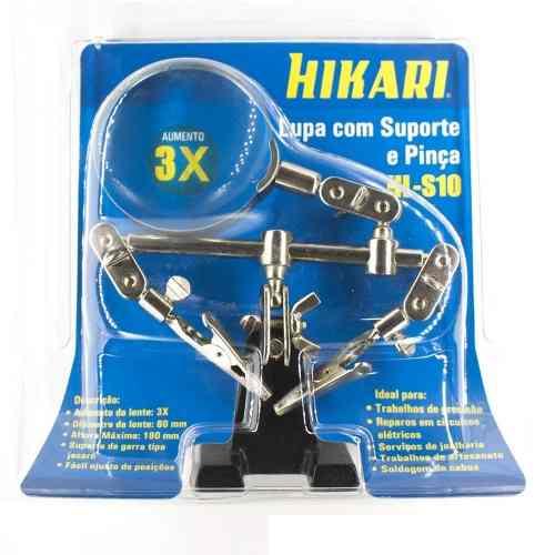 Lupa com Suporte, Garra Pinça e Lupa com Aumento em 3x - Hikari Hl-S10