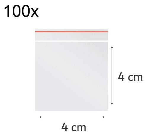100 x Saco Plástico Zip Lock Hermético 4 x 4 cm Nº 0
