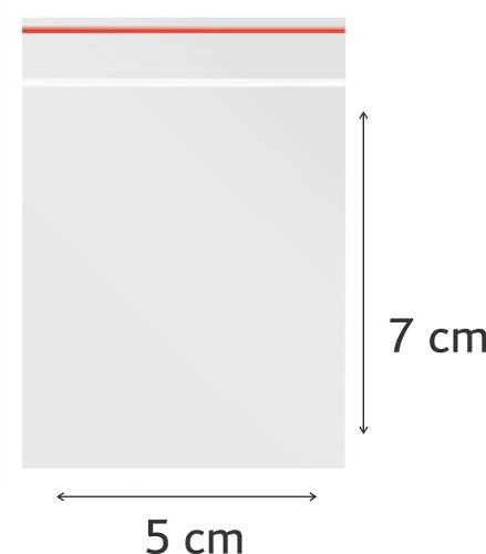100 x Saco Plástico Zip Lock Hermético 7 x 5 cm Nº 1