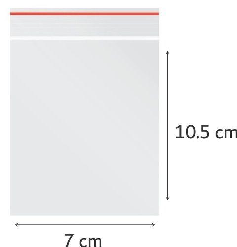 100 x Saco Plástico Zip Lock Hermético 7 x 10.5 cm Nº 3