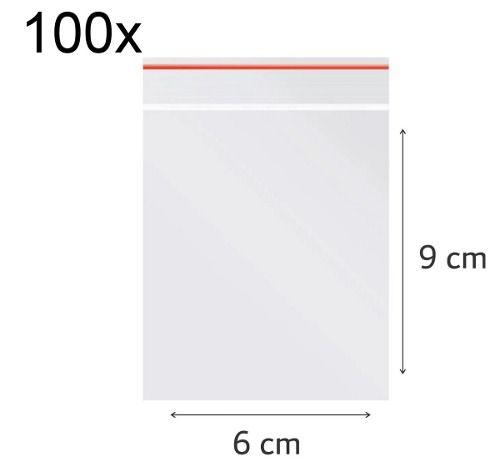 100 x Saco Plástico Zip Lock Hermético 9 x 6 cm Nº 2