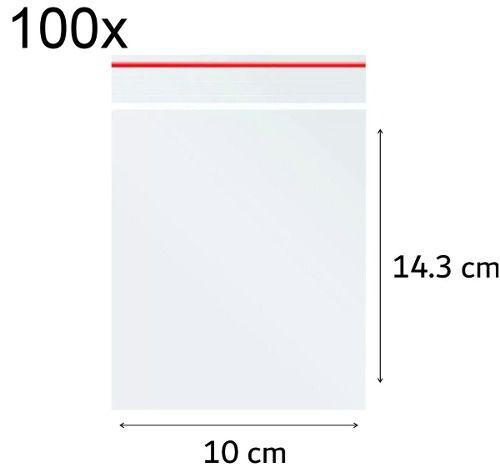 100 x Saco Plástico Zip Lock Hermético 10 x 14.3 cm Nº 5